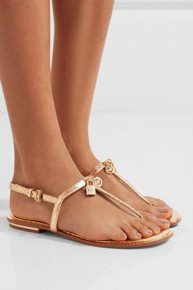 a3c024b6d17b1 MICHAEL Michael Kors - Suki Embellished Metallic Snake-effect Leather  Sandals - Gold - US7.5