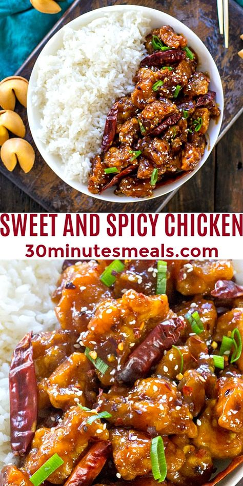 Sweet and Spicy Chicken is perfectly crispy and coated in the most delicious, sweet, sticky and spicy sauce. Made in 30 minutes only! #sweetandspicychicken #chicken #easyrecipe #30minutesmeals