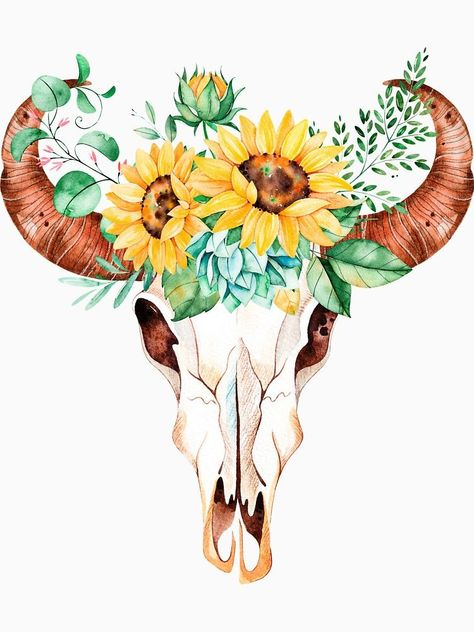 Sunflower bouquet, bull skull, sunflower skull, sunflowers, watercolor, painted sunflowers by SouthPrints