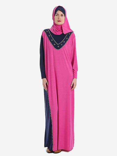 Elegant Prayer Dress Isdal Fuschia and Dark Blue With Hijab  |Islamic Boutique