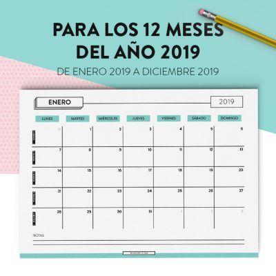 Planificador Calendario 2019 Imprimible Y Gratis Meses Calendario Calendario Planificador