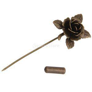 ヴィンテージ 男性 スーツ 金属の花 ラペルピン ブローチ アンティーク