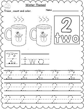 Winter Themed Count Trace Color Numbers 1 10 Number Words
