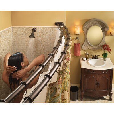 Moen Adjustable Double Curved Shower Curtain Rod Finish Matte