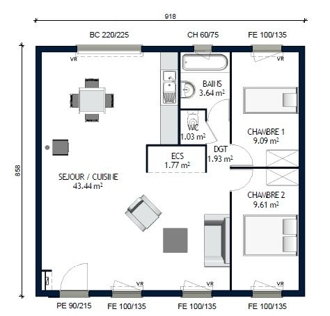 Plan Maison 70m2 2 Chambres Plan Maison 2 9