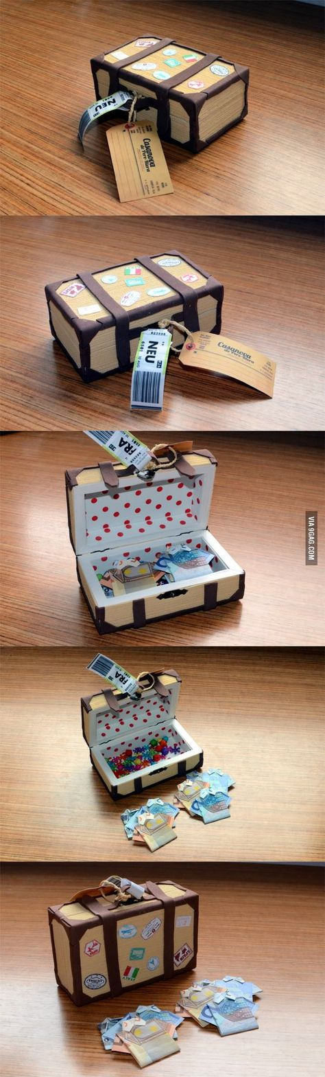 No instructions on how to make the little suitcase but could experiment and work it out.  Nice gift to give to someone going on holiday or honeymoon.  Could fill it with the local currency of where they are going.