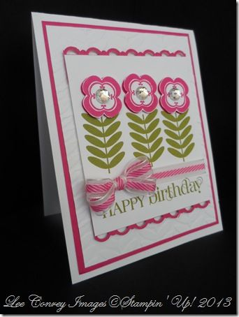 handmade birthday card ... light and cheerful with green and rose ... luv the curley font in the HAPPY BIRTHDAY ... this design could be used for many other occassions  ... Stampin' Up!