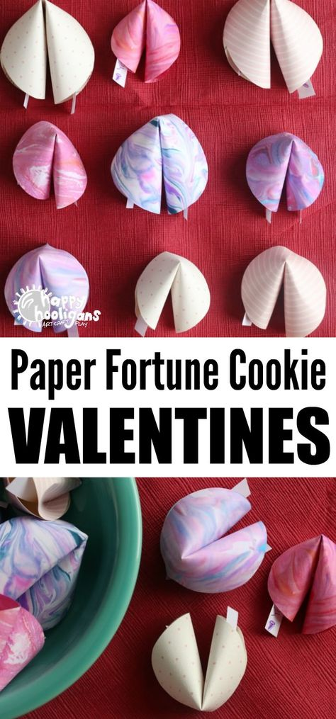Valentines Paper Fortune Cookies for Kids to Make - Happy Hooligans