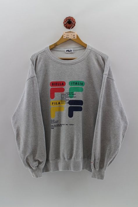 d05faef75 Vintage 1990s FILA SPORTS Crewneck Sweatshirt Men Xlarge Fila Italia  Multicolor Sportswear Big Logo