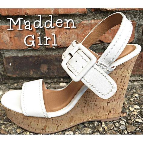 BRAND NEW! MADDEN GIRL WHITECORK WEDGES. SIZE 6.5 BRAND NEW