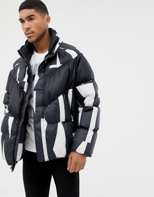 Nike Down Filled Jacket In All Over Print In White 928889