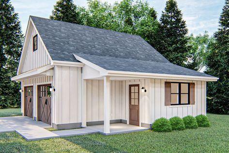 Plan 62843dj Modern Farmhouse Detached Garage With Pull Down Stairs In 2020 Garage Guest House Garage Workshop Plans Garage Exterior