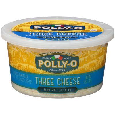 Polly O Shredded Three Cheese Blend 5 Oz Tub Three Cheese Polly O Italian Cheese