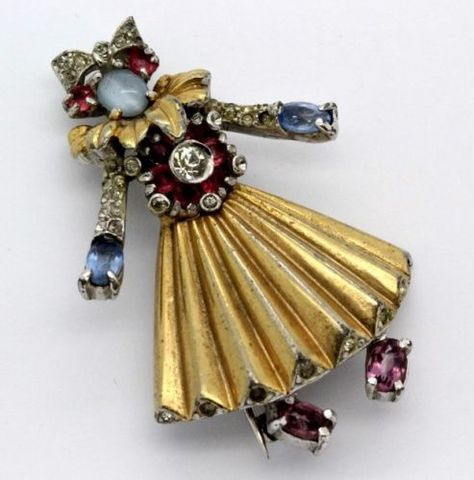 VTG-Designer-Style-Gold-Tone-Rhinestone-Jelly-Belly-Lady-Dancer-Brooch-Pin-FGB