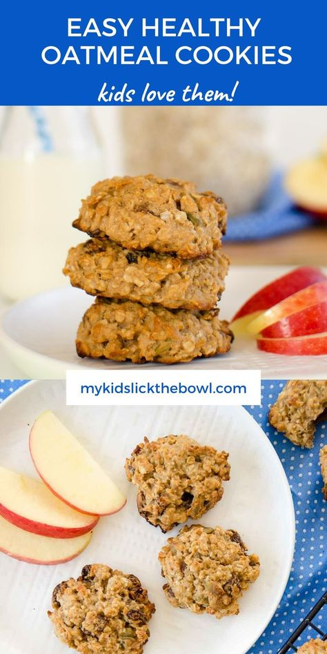 Low sugar high fibre tasty cookies together. Sweetened with apple and raisins with the lasting energy of oatmeal #cookies #kidssnack #oatmealcookies