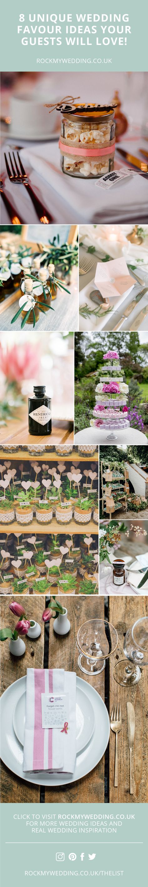 8 Unique Wedding Favour Ideas Your Guests Will Love! | Wedding Favours | Wedding Favors | Wedding Favour Ideas | Wedding Planning | #weddingfavours #weddingfavors #weddingfavourideas #Weddingplanning