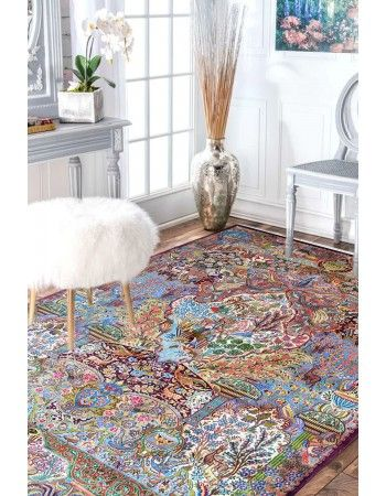 Victorian Hunting Handknotted Wool Persian Area Rug Rugs On