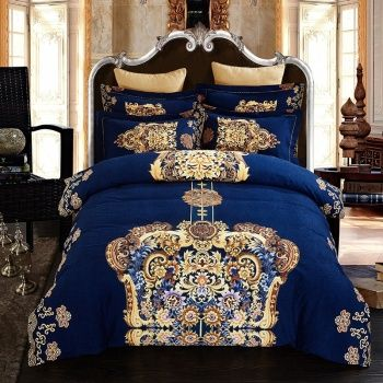 Royal Blue And Gold Indian Pattern Royal Style Noble Excellence Luxury 100 Brushed Cotton Full Quee Blue Comforter Sets Blue Bedding Sets Royal Blue Bedrooms