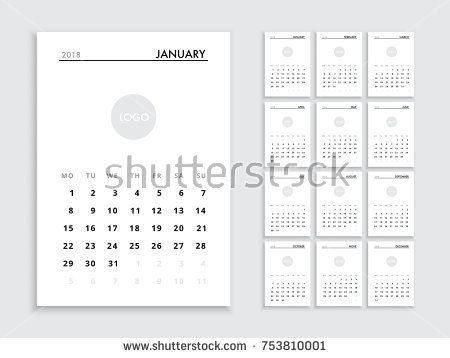 Calendar template for 2018 year Planner vector diary in a - business calendar templates
