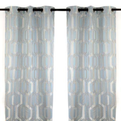 Hexagon Spa Blue Curtain Panel Set 84 In Curtains Blue Curtains Panel Curtains