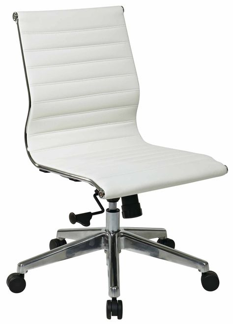 Office Star Mid Back Eco Leather Armless Chair