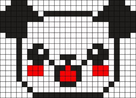 Panda Face Perler Bead Pattern Bead Sprite Pixel Art