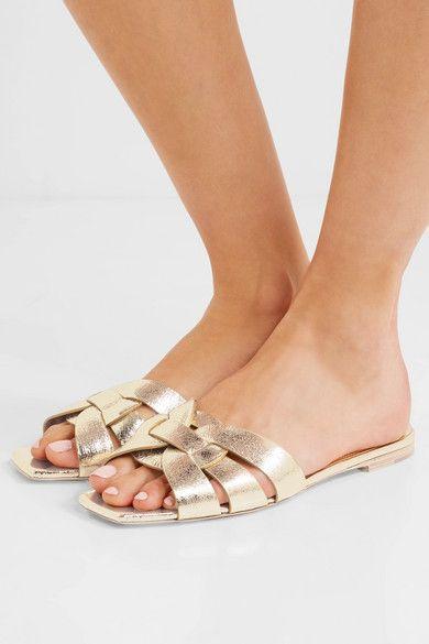 063661db765 Saint Laurent - Nu Pieds Metallic Cracked-leather Slides - Gold ...