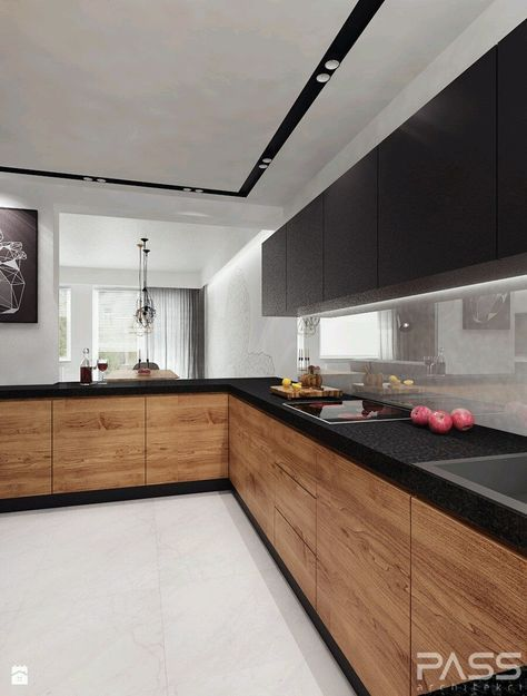 Cozinha branca com pedra preta