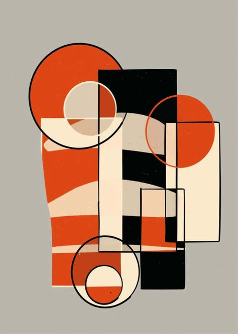 Bauhaus Shapes Colours Elements Handpainted Digital Painting
