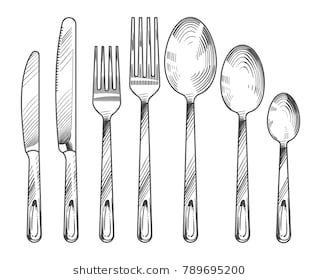 Sketch Silver Knife Fork And Spoon Hand Drawn Cutlery Vector Set