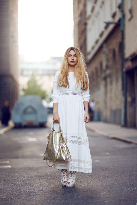 White Dress & Gold Stella Bag