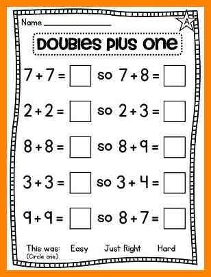 Math worksheets on doubles plus one | Download them and try ...
