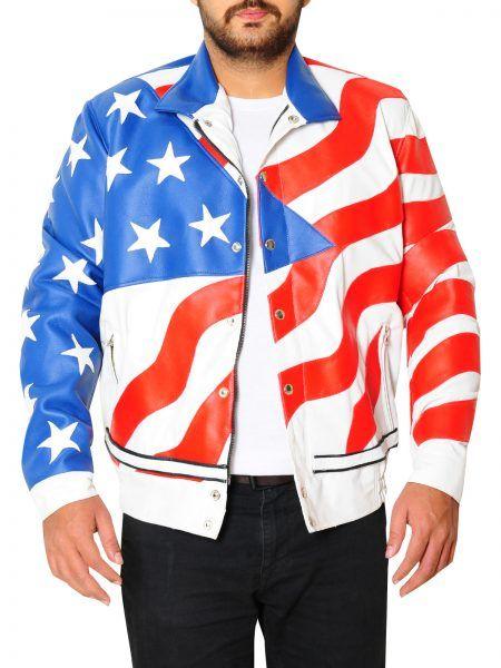 Vanilla Ice American Flag Leather Jacket Faux Leather Jacket Men Jackets Jackets Uk
