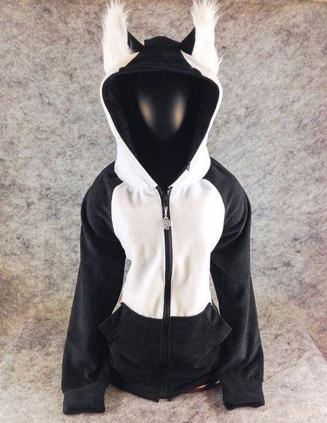wolf hoodie with ears | Siberian Husky malamute hoodie jacket arctic wolf furry Kitty jacket ... #Hoodie