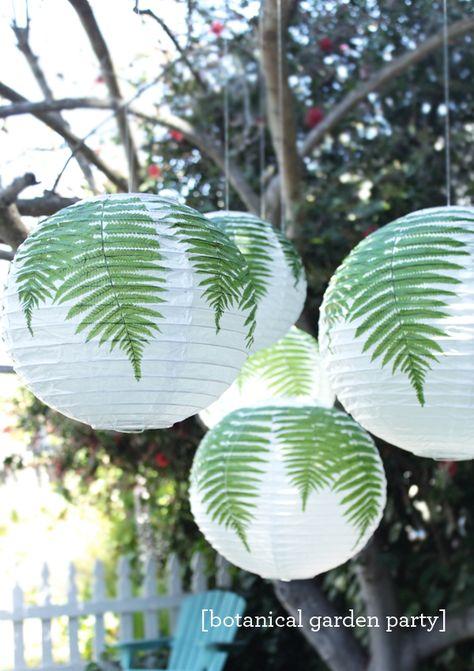 A Botanical Garden Party | hanging fern paper lanterns #LetsCelebrate #MarthaCelebrations