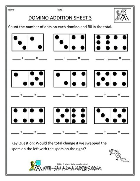 Printable Kindergarten Worksheets Printable Kindergarten Math Worksheets Domino Addition 3 Skola Larare Skoltips