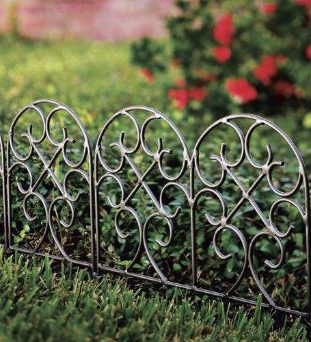 Wrought Iron Heavy Duty Outdoor Garden Edging With Scroll Design