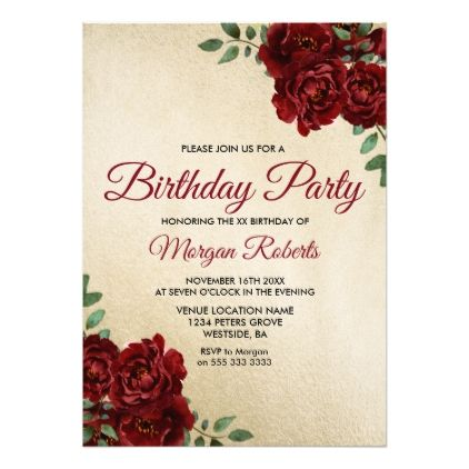 Any Age Gold Foil Burgundy Rose Birthday Party Invitation Zazzle
