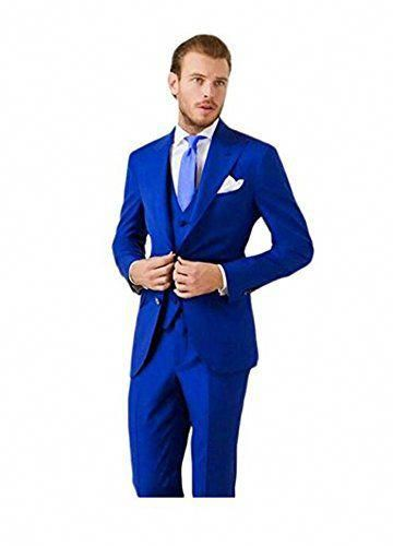 AK Beauty Mens Royal Blue 3 Pieces Groom Tuxedo 2 Buttons Wedding Party Suits for Men
