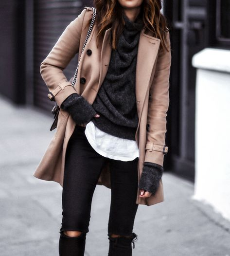 · Camel Coat + Black Ripped Jeans + Dark Sweater- I really love the layered look in this outfit