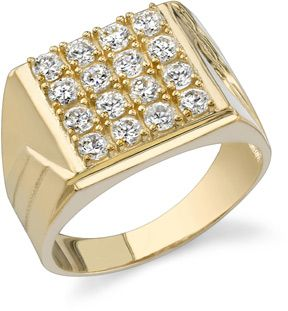 Mens Square CZ Ring 14K Yellow Gold Jewelry Rings 59500 oOo