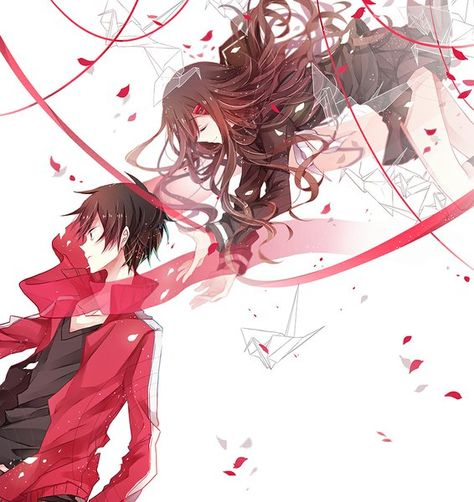 Anime picture	kagerou project shaft (studio) tateyama ayano kisaragi shintarou flywinga7 long hair tall image short hair brown hair fringe white background brown eyes eyes closed profile bent knee (knees) open clothes pleated skirt open jacket girl male 	943x1000	360127	en