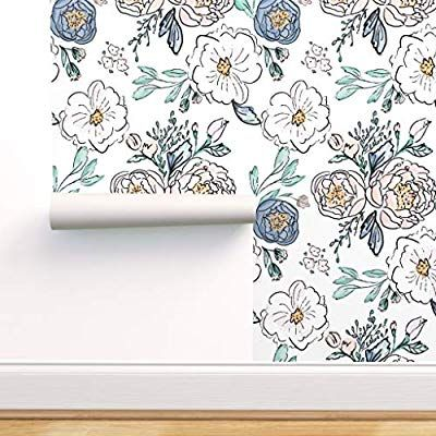 Spoonflower Peel And Stick Removable Wallpaper Periwinkle Rose Floral Print Self Adhesive Wallpaper 24in Floral Wallpaper Removable Wallpaper Flower Bedding Floral peel and stick wallpaper amazon