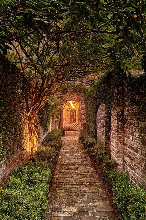 🇺🇸 Walkway to one of Charleston's Historic Rainbow Row Houses (South Carolina) cr. Brick Walkway, Brick Path, Brick Courtyard, Walkway Ideas, Arch House, Types Of Houses, Dream Garden, Pathways, Beautiful Gardens