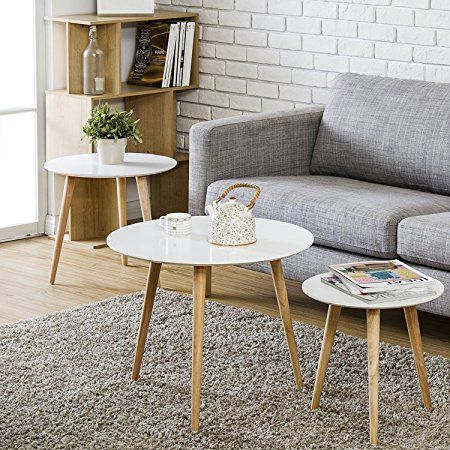 Homury Wood Coffee Table Round Set Of 3 End Side Table Nesting Corner Table Telephone Sofa Tea Coffee Table Living Room Coffee Table Nesting Tables Living Room