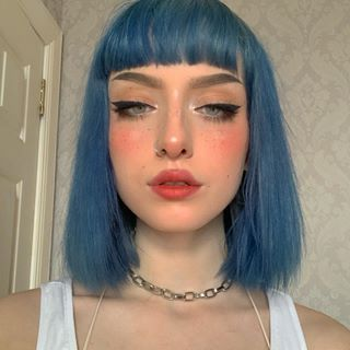 Image May Contain One Or More People And Closeup Aesthetic Hair Short Blue Hair Dye My Hair