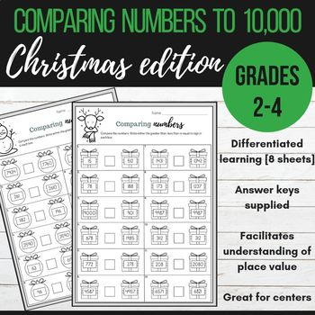 Comparing Numbers To 10 000 Christmas Editionstudents Will Use Their Analytical Skills And Knowledge Comparing Numbers Differentiated Learning Teaching Math