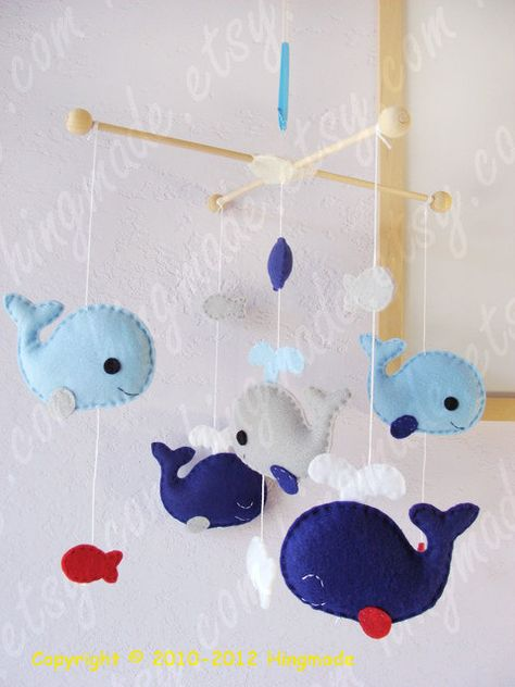 Baby Mobile - Whale  Mobile - Nursery Mobile - Fish Mobile - Serene Sea - Blue Gray Whale family (You pick your colors). $82.00, via Etsy.