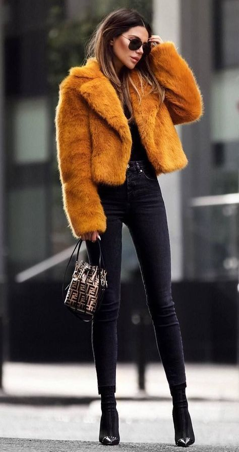 to wear an orange fur jacket : skinny jeans + bag + over knee boots / winter how to wear an orange fur jacket : skinny jeans + bag + over knee boots / winter. how to wear an orange fur jacket : skinny jeans + bag + over knee boots / winter. Winter Outfits For Work, Winter Fashion Outfits, Look Fashion, Autumn Fashion, Woman Fashion, Fashion Black, Trendy Fashion, Jeans Outfit Winter, Stylish Winter Outfits