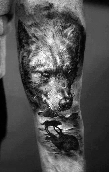 Mens Realistic Wof On Beach Tattoo On Inner Forearm Polynesiantattoos Wolf Tattoos Men Lone Wolf Tattoo Tattoos For Guys Badass